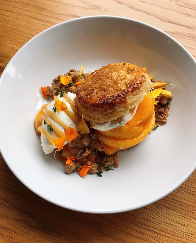 Cozy up with Peach Shortcake, Butterscotch, Whipped Cream, Pecan-Oat Streusel at our dinner service tonight!