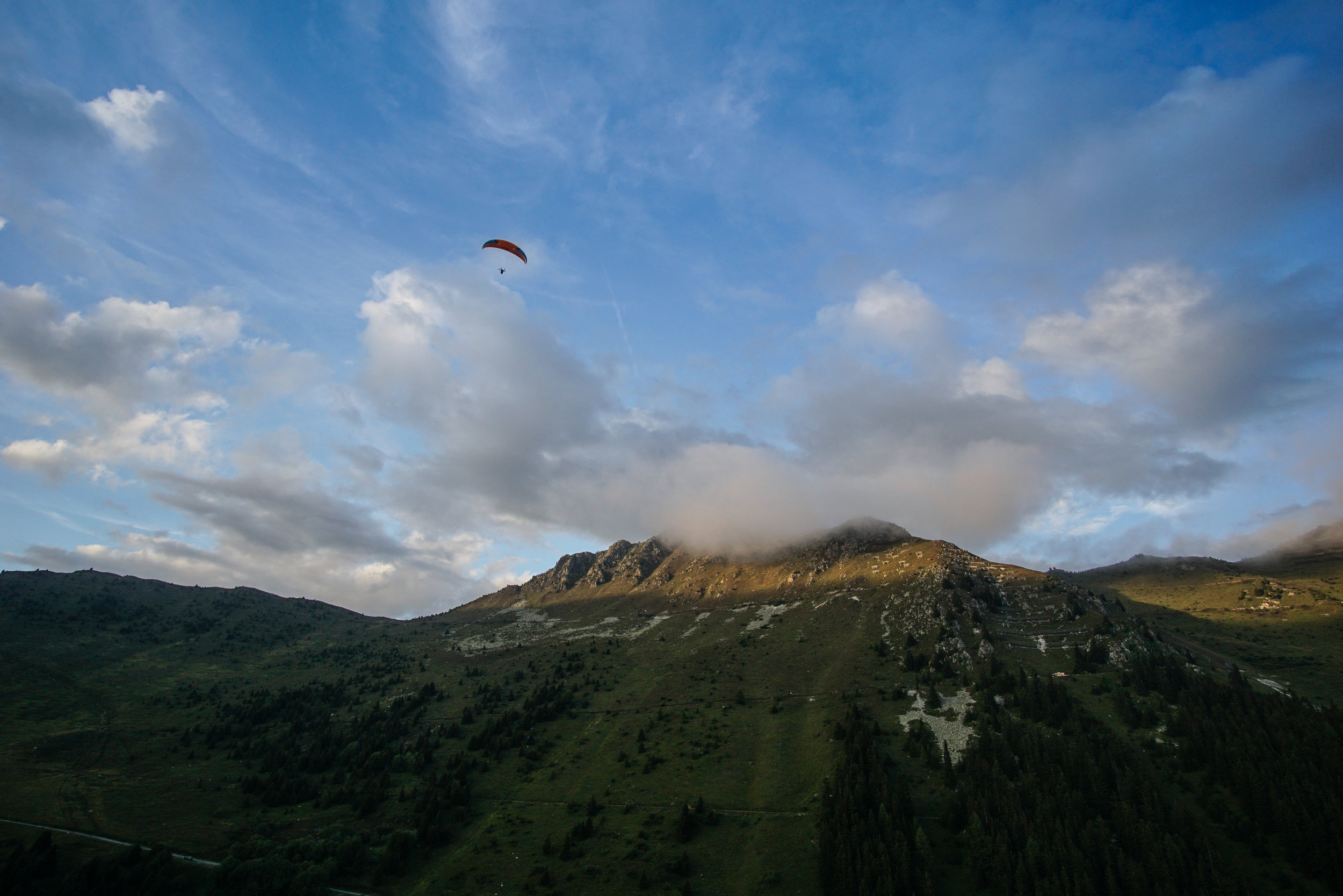 Becky flying over Verbier