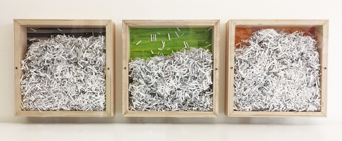 "Extremely Private,  Triptych, each 12 x 12 x 2.5"", paper shredded from the artist's personal journals, rice paper."