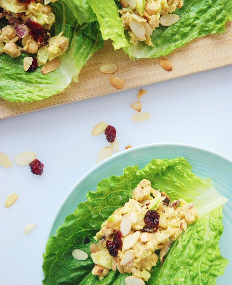 Chicken or Chickpea Lettuce Wraps - Foody First