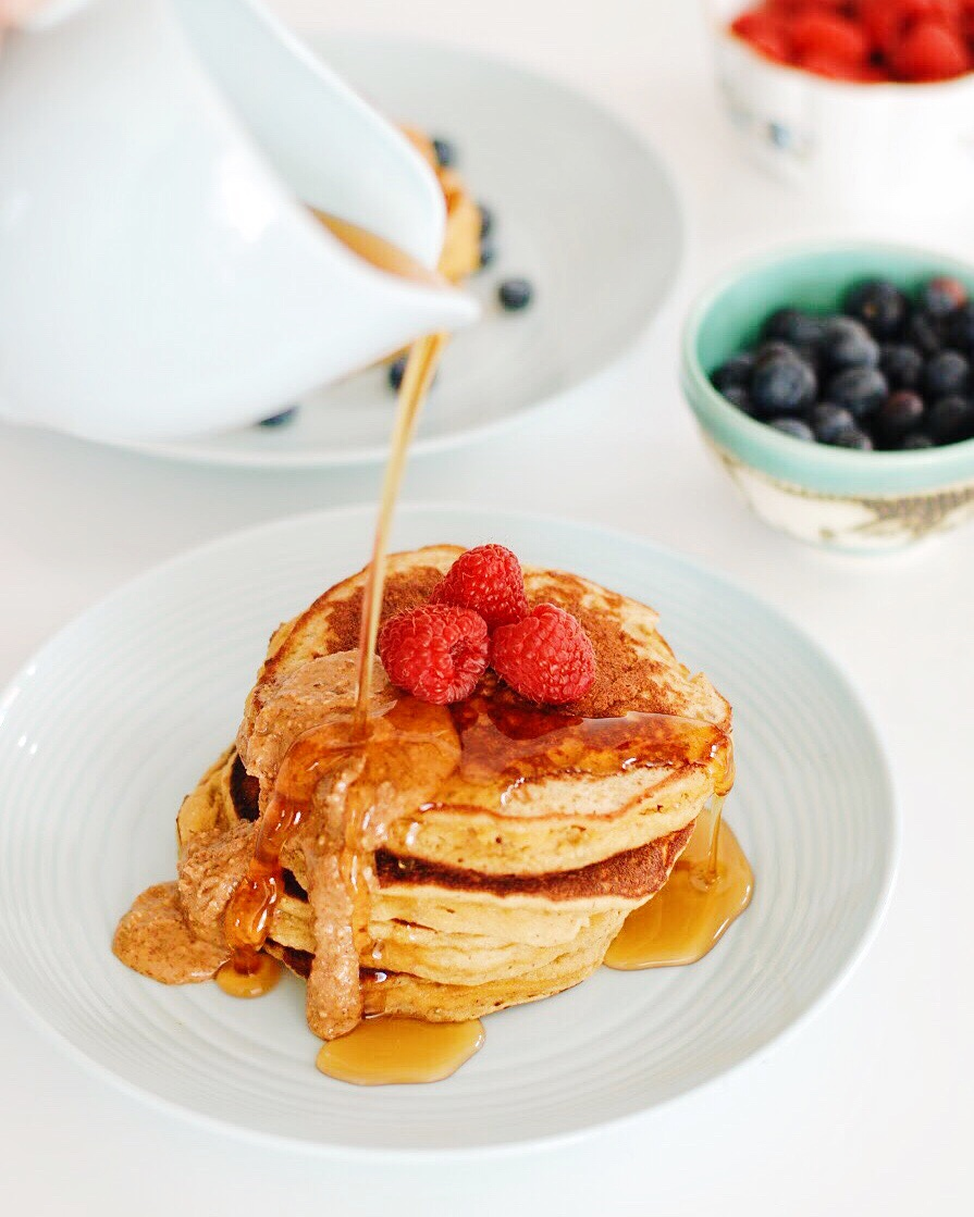 Paleo, Sugar-Free, Gluten Free Pancakes! So filling and so so delicious! - Foody First - #pancakes #paleopancakes #breakfast #sugarfree #glutenfreepancakes #glutenfree