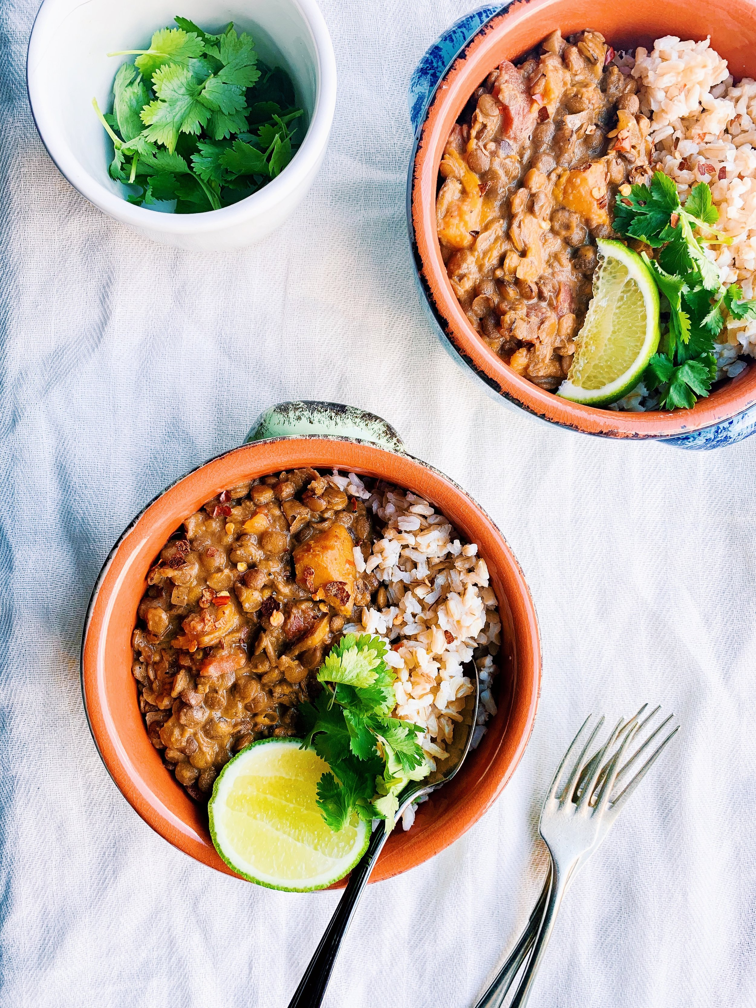 Batch cook a slow cooker sweet potato lentil curry, so cheap, so delicious! Vegan, Vegetarian, Gluten Free, Dairy Free and so delicious! Foody First