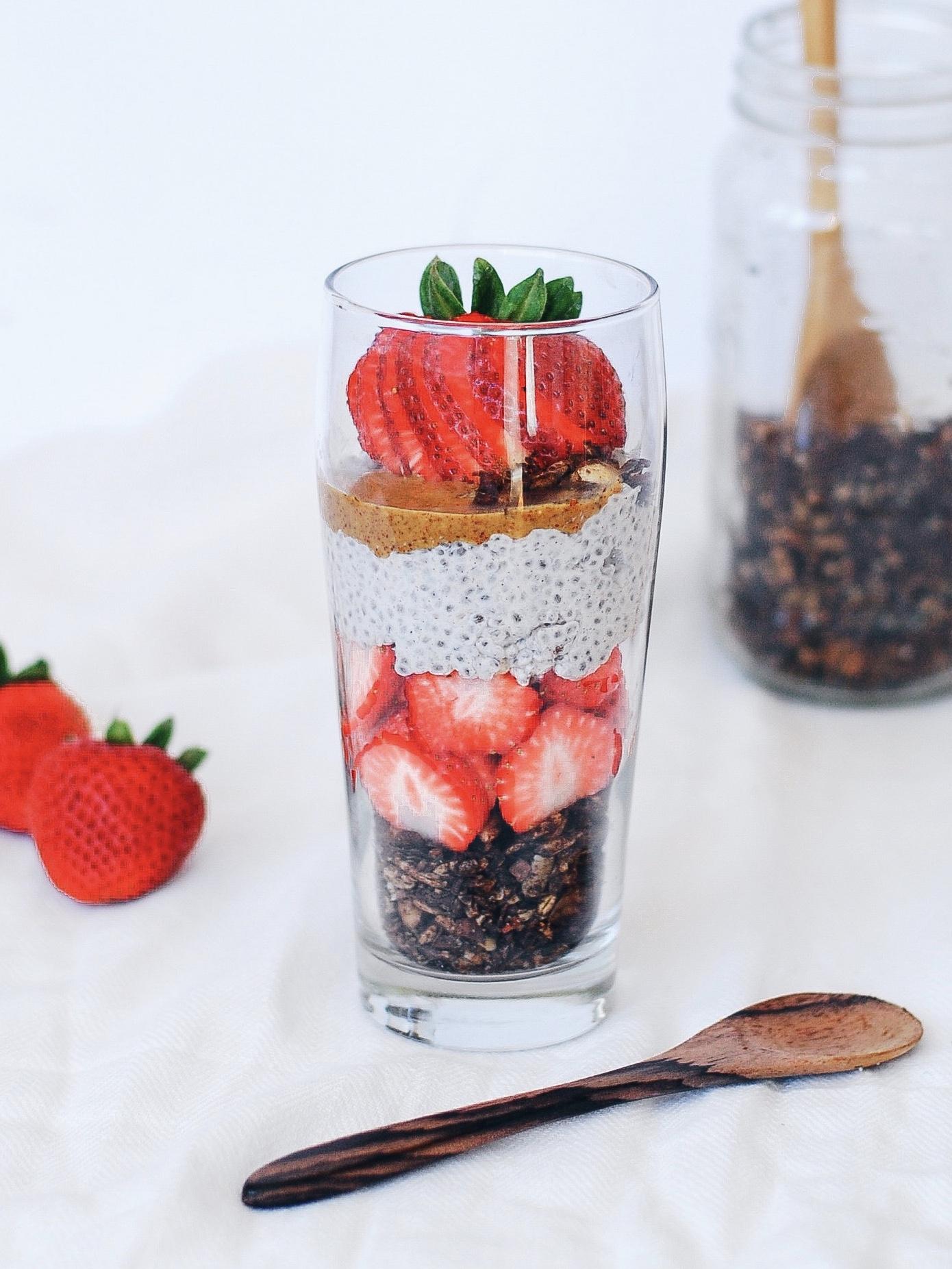Chocolatey Granola and Strawberry Chia Parfait - Foody First