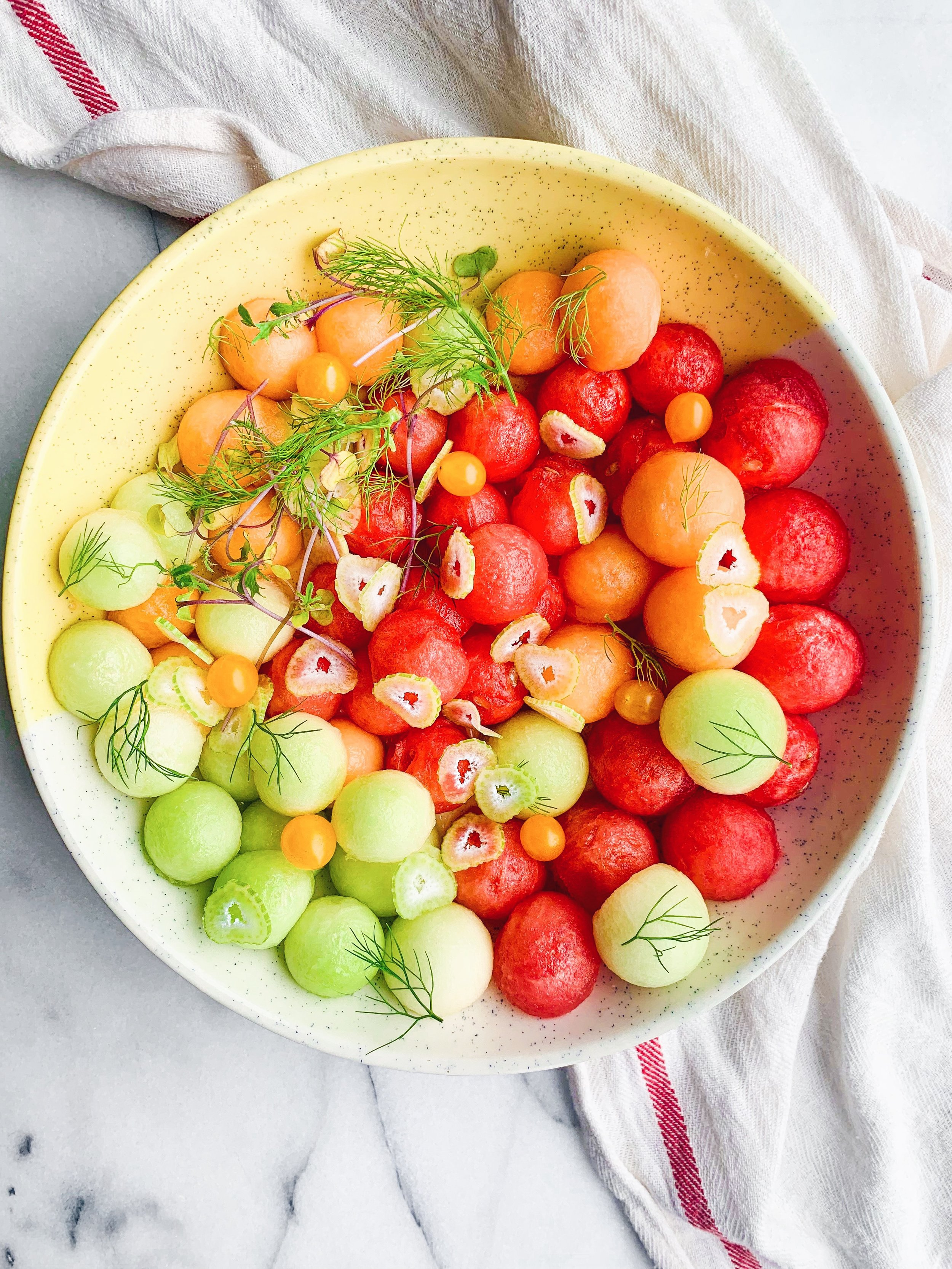 Melon Ball Salad with Fennel and Lime Dressing {vegan gf} - A super simple summer recipe with honeydew melon, cantaloupe, and watermelon! An easy lime dressing is perfect with the sweet fruits! - Foody First - #vegan #glutenfree #watermelonsalad #whole30 #healthyfood #easyrecipes