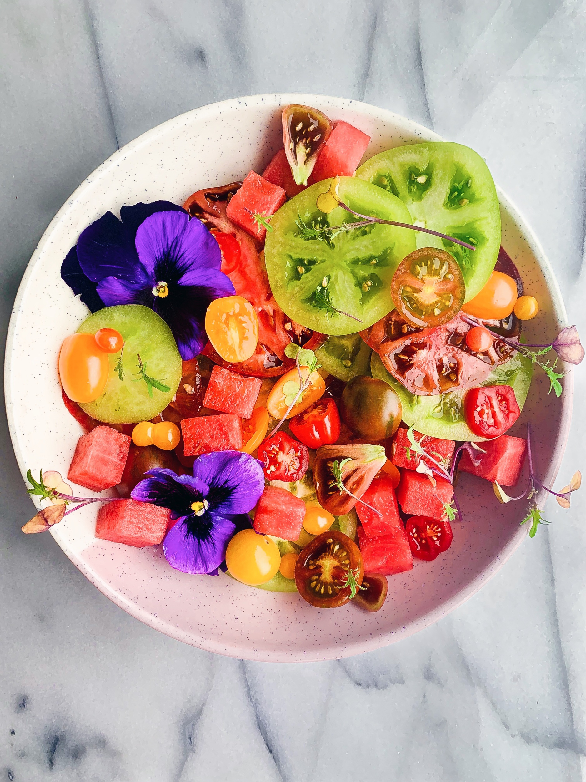 Watermelon Salad with Heirloom Tomatoes and Lime {Vegan, Gluten Free, Paleo} - This is my definition of summer in salad form! So simple and so delicious! #vegan #plantbased #glutenfree #dairyfree #paleo #healthy #watermelon #eathealthy #summereats #whole30
