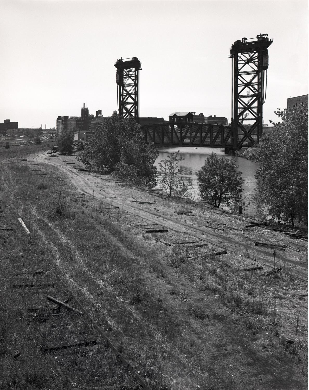 Railroad Bridge with Bridge House South Branch Chicago River