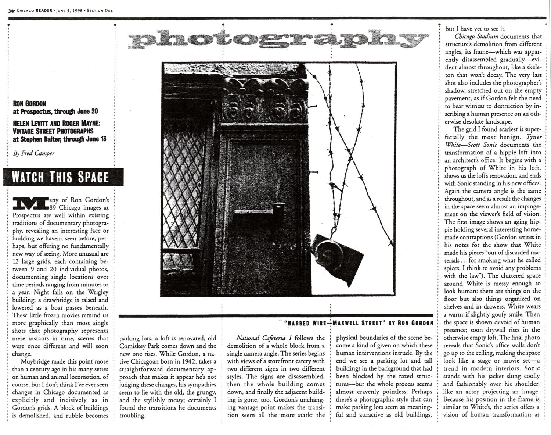 Fred Camper Chicago Reader 1998