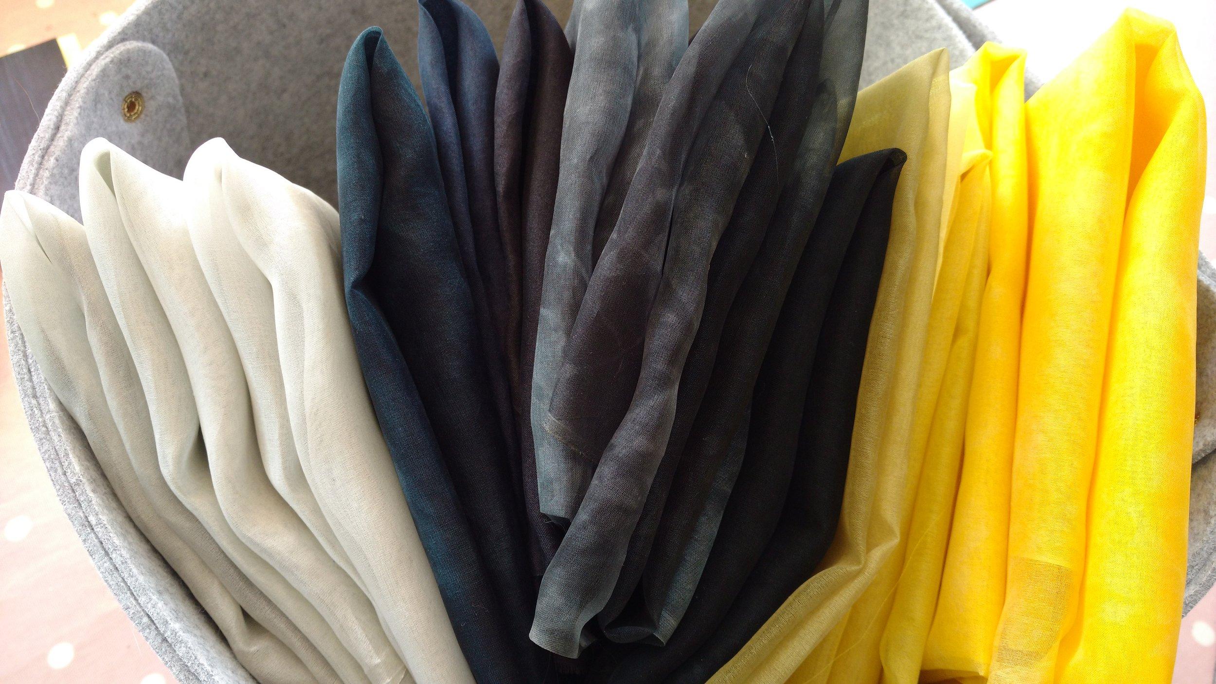 Hand dyed silk organza fabrics