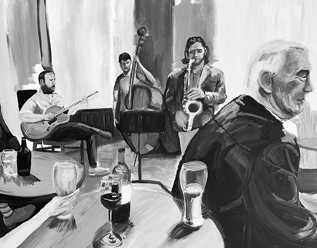 Made some headway with this painting commission. Good to get a chance to splash paint about. The foreground is at 1:1 scale. Will show the colour when it's finished.  #jazzpainting #pubscene #acrylicpainting #commissionpainting #workinprogress #musicpainting #loosepaintingstyle #1to1scale #artificiallight #impressionistpainting #atmosphere #painting