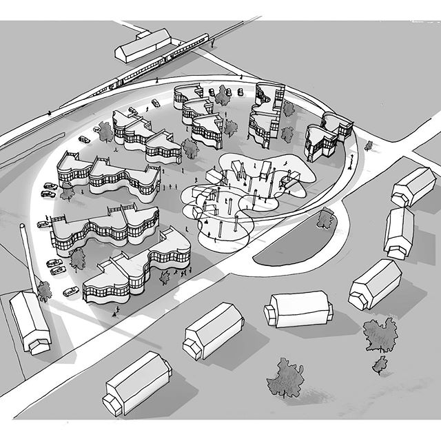 'Burneside Reel'. Spinning out a reel of houses around an event space. Burneside town has a long history around the paper mill and the scheme is conceptually driven by the paper reel. Here's a few concept sketches from the competition entry for Burneside Lakes. Marks for guessing how the house 'piano' forms are generated.  #streetreel #burneside #cumbria #housingdevelopment #burnesidereel #architectureconcept #architecturedrawing #architectureconceptsketch #housingdesign #brightonarchitecture #oxfordarchitecture #contextualdesign #paperarchitecture #housedesign #lakedistrict #conceptsketch #ruralregeneration #regeneration #brightonarchitect #oxfordarchitect