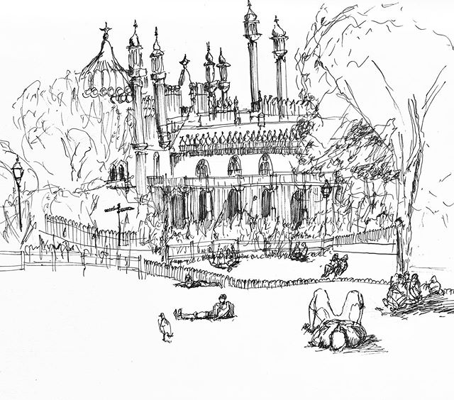 Sketching in Pavilion Park with the group. Great fun with a live orchestra turning up half way through.  #brightonpavilion #brightonarchitecture #urbansketching #pleinair #sketching #linedrawing #lifedrawing #brightonarchitect #sketchbook #drawing #sketch #pendrawing