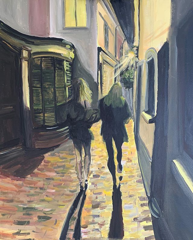 Finished this painting of the Lanes. Walking into the light as the buildings bulge and squeeze you along. One of the girls has started a walk to Kazakhstan and this feels like a symbolic start to her journey.  #brightonartist #brightonarchitect #brightonlanes #acrylicpainting #impressionistpainting #chiaroscuro #cobbledstreets #streetscape #brightonnightlife #twogirls #walkingintothelight #friendship #brightonarchitecture #artificiallight #instartist #painting