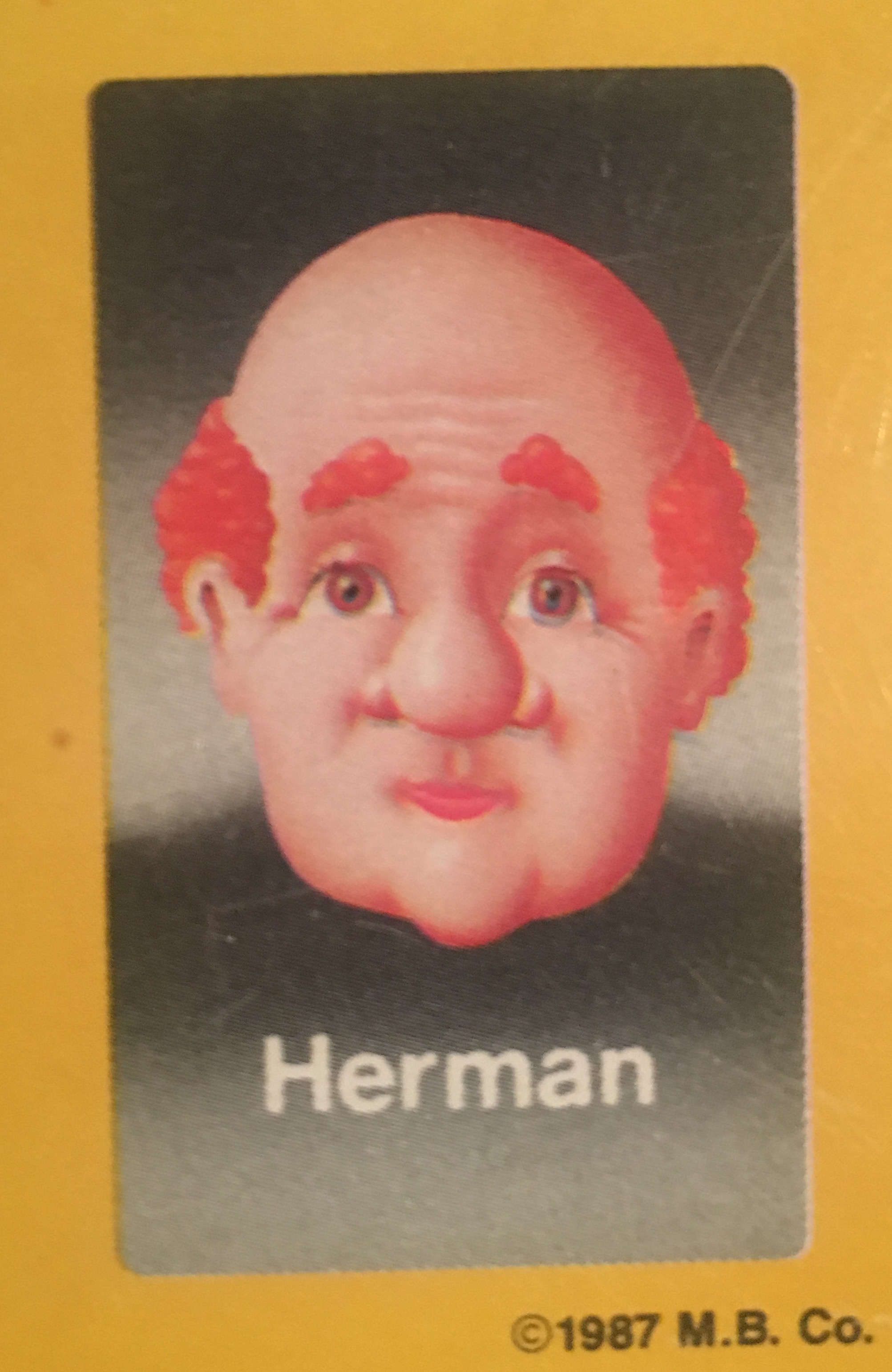 - Herman is the latest in a long line of proud plumbers. During a mid-life crisis he became disillusioned with snaking hairballs out of shower drains, and when buying a motorcycle didn't make him feel better, he spontaneously auditioned to become a Guess Who?® face. Chosen for his combination of bald head, flame orange hair, and bulbous nose, he was as surprised as the rest of us when he was chosen. The fortune and fame made Herman uncomfortable, and helped him to realize that what he loved most was plunging a plunger into a potty plugged with poop. He gave most of his Guess Who?® money away and went back to his life as the bathroom wizard he was born to be.