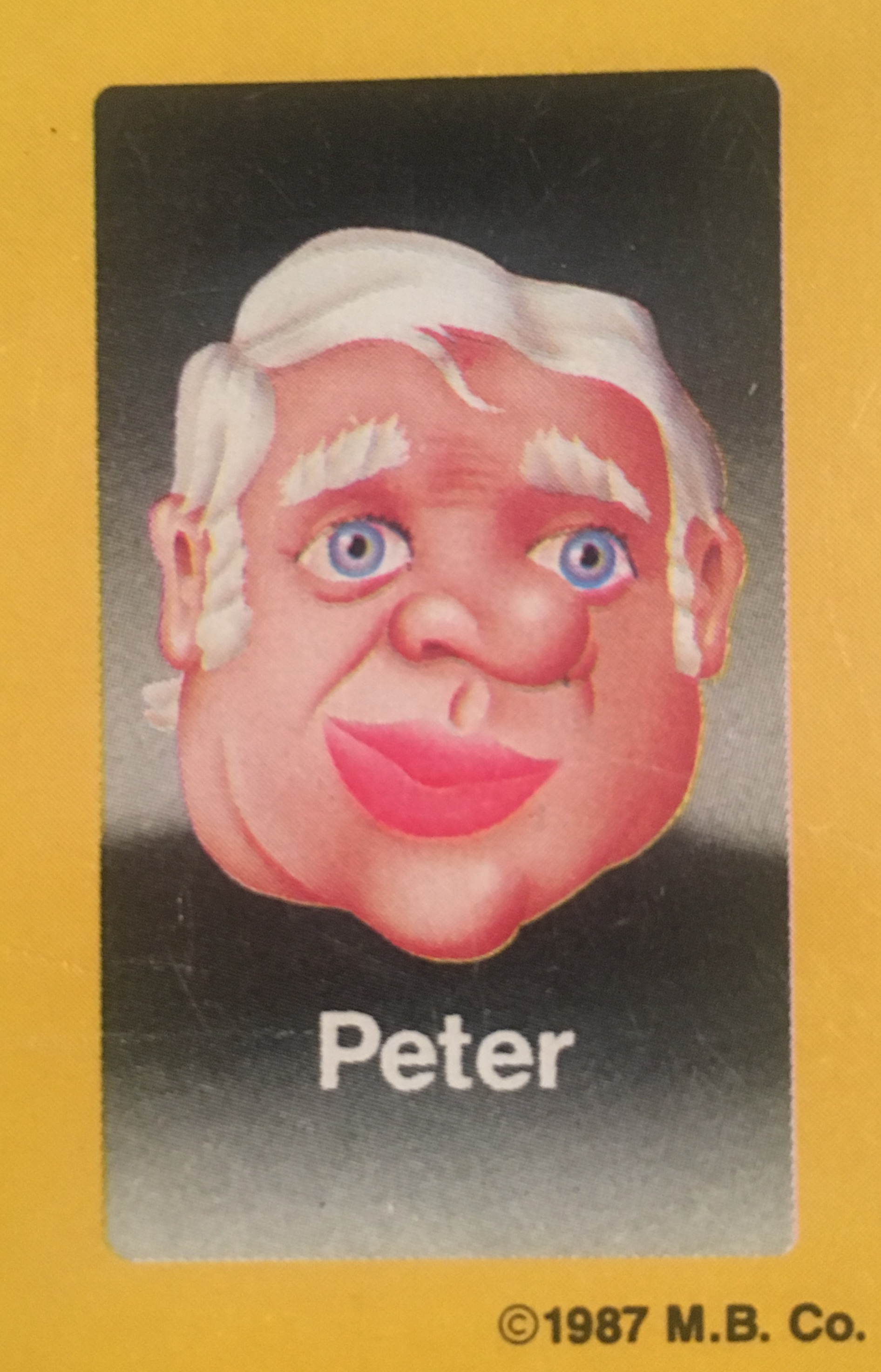 - Peter was a mid-level executive at Milton Bradley when the decision to go forward with the secret Guess Who?® project was made. Senior executives on the board of Milton Bradley thought he had an interesting face, and frankly, they didn't like Peter very much. He was told of his new role within the company, as a face card for the game, and was relieved of all previous responsibilities. In retrospect, it was a savvy move by the board, sacking an unpleasant executive while avoiding a costly buy-out package. And he does have an interesting face.