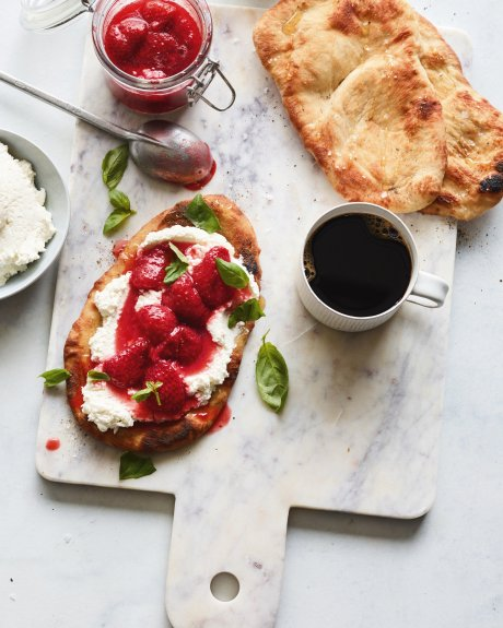 mercury news breakfast flatbread with ricotta strawberry basil jam.jpg