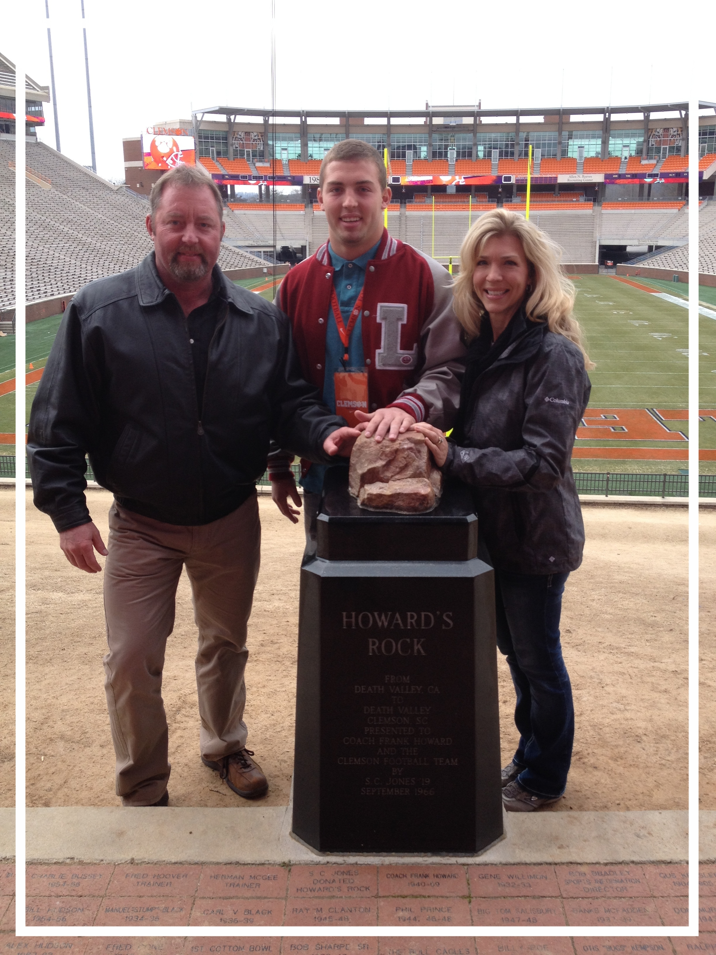 Agent Rick Bell with his wife and son at Clemson University Memorial Statium