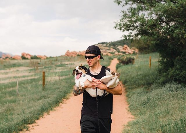 Rocky basking in being carried towards the end of our hike. It was either this or him completely choking himself because of the persistent tugging. We recently learned how terrified this dude is of thunder storms. He can sense them before they even begin.. unfortunately that's another rocky fear we'll have to work on. Any advice from those who have dealt with fearful dogs?