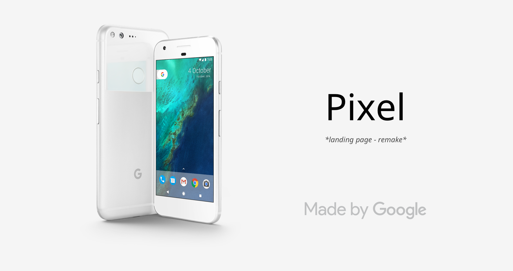 Check out my pixel-perfected remake of the Google Pixel website   here  .