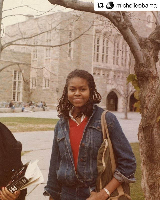 Words to live by • congrats class of 2018 💛  #Repost @michelleobama with @get_repost ・・・ This is me at Princeton in the early 1980s. I know that being a first-generation college student can be scary, because it was scary for me. I was black and from a working-class neighborhood in Chicago, while Princeton's student body was generally white and well-to-do. I'd never stood out in a crowd or a classroom because of the color of my skin before. But I found close friends and a mentor who gave me the confidence to be myself. Going to college is hard work, but every day I meet people whose lives have been profoundly changed by education, just as mine was. My advice to students is to be brave and stay with it. Congratulations to the Class of 2018!