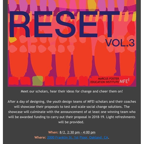 Join us for the #ResetVol3 showcase • Meet our scholars, hear their ideas for change and cheer them on!  Link in bio for more info and to RSVP.