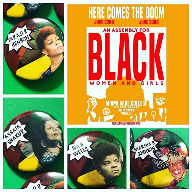 Here Comes The Boom less than one day away!! Come check out our buttons, T-shirts, and other gear! @tarajiphenson #BlackGirlsMatterMIA #HereComesTheBOOM #socialjustice