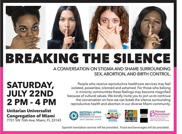 Join @PowerU305, @FLLatinas, Miami GRRL, Venus Roots, & @FAPPA for a much needed conversation about breaking the silence! Power U's Community Organizer, Tifanny Burks is on the panel! #BreakTheSilence
