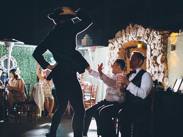 Talk about a show-stopping performance!! This was such a fun event with these two gentlemen! Taken at the amazing roof top venue at the @oviattpenthouse in downtown LA. - - - - #loveislove #weddingstyle #weddingvenue #weddingphotos #californiaweddingphotography #lawedding #laweddingphotographer #lovewins #marriageequality #husbands #showboy #gaywedding #grooms #weddingtime