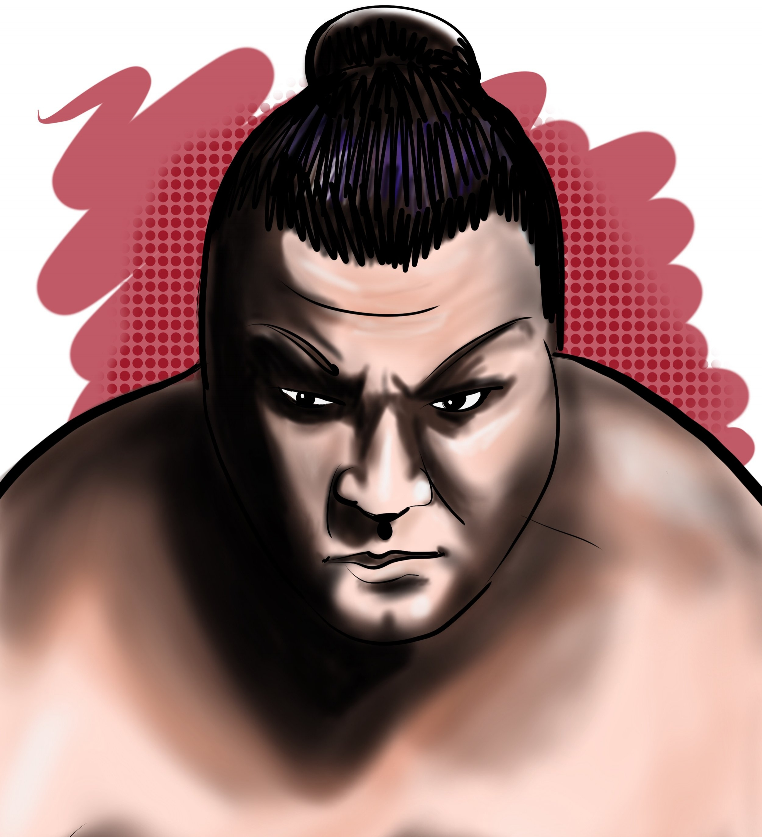 Mike WietechaCalifornia, United States - Serena is a fantastic artist. I gave her one of my sumo pictures and she made an awesome illustration. Her style is very unique and she chooses fun colors!Professional competitive sumo wrestler on a portrait of himself