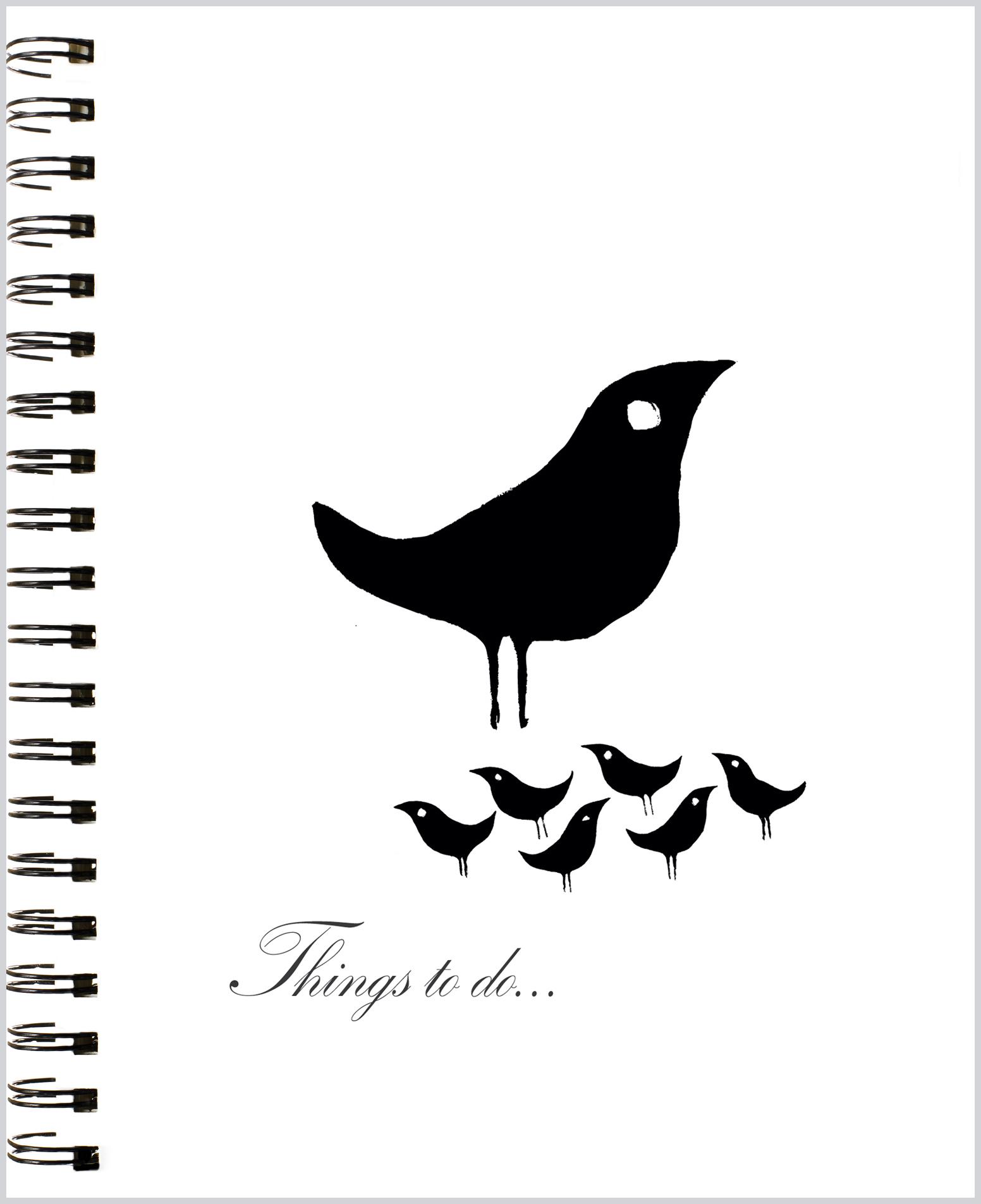 LittleNoteCard_BlackBirdies_Blank Journal