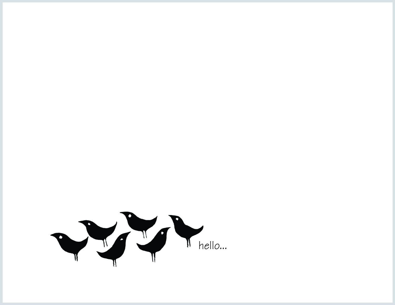 Six Birdies, Hello,  Note Cards
