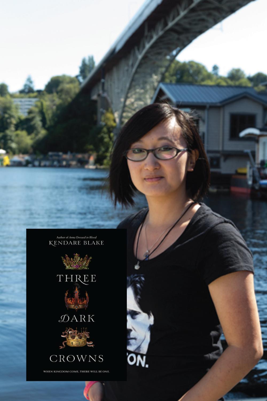 Author Kendare Blake with her book Three Dark Crowns