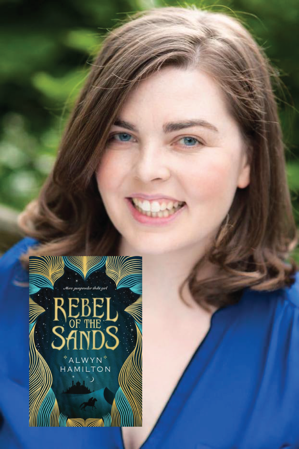 Author Alwyn Hamilton with her book Rebel of the Sands