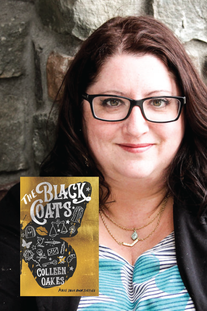 Colleen Oakes with her book The Black Coats