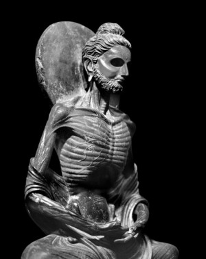 """""""He lived on a grain of rice a day, and later, nothing at all. His body became so thin that his legs were like bamboo sticks, his backbone was like a rope… his eyes sank right inside, like stones in a deep well. His skin lost its golden color and became black… he looked like a living skeleton.""""* —> Fasting Buddha has some solid man bun game tho, right?"""