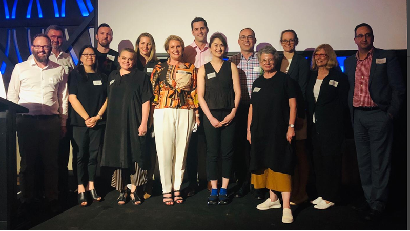 Winners: ARM Architecture team, pictured here with judges Callan Cameron, Sally Curtain, Ken Lynch and Six Ideas Chris Alcock, Su Lim and Dylan Martyn.