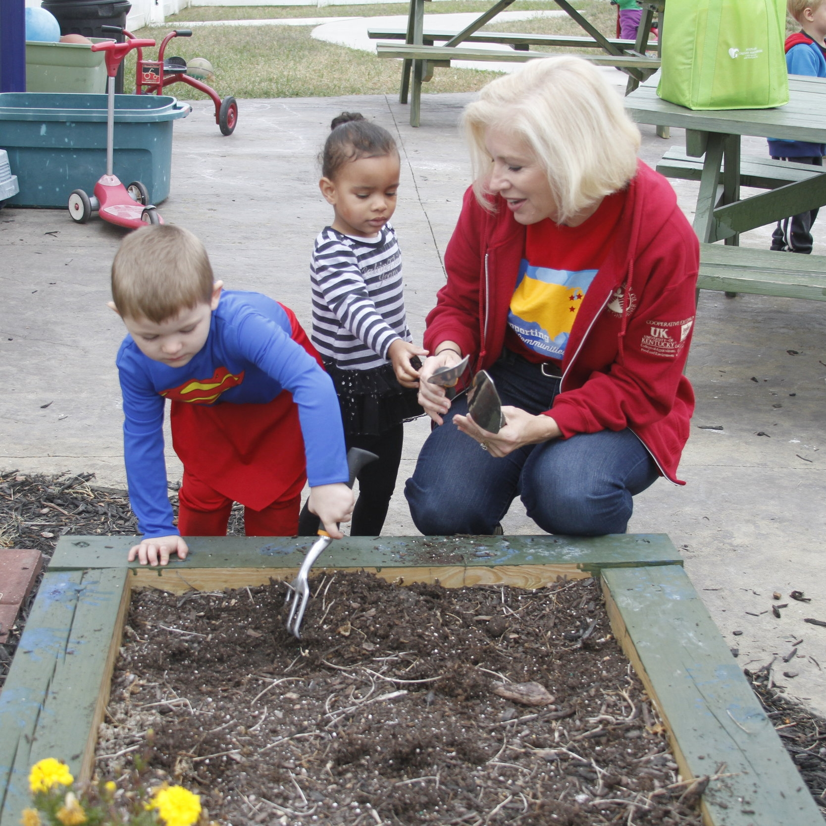 Mead Johnson Nutrition partners with Ark to provide maintenance, landscaping, volunteers for all sorts of tasks, planting vegetable gardens & providing nutrition lessons for children and so much more!
