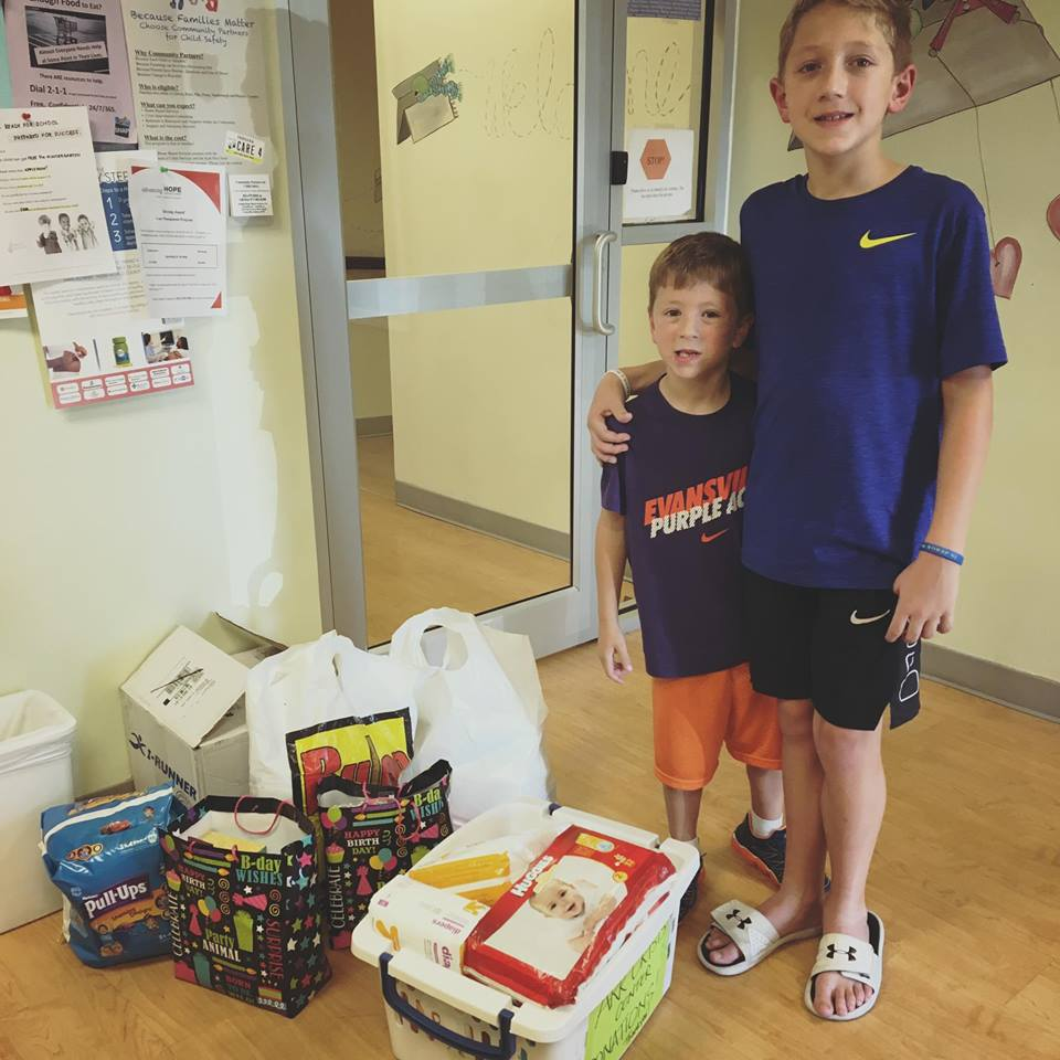 Seth and Ryan invited their friends to their Birthday party and asked them to bring diapers, baby wipes, books and arts and crafts items for Ark's kids.