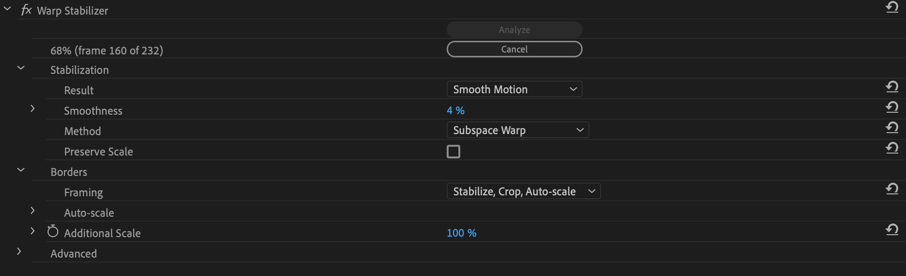 warp stabilizer settings
