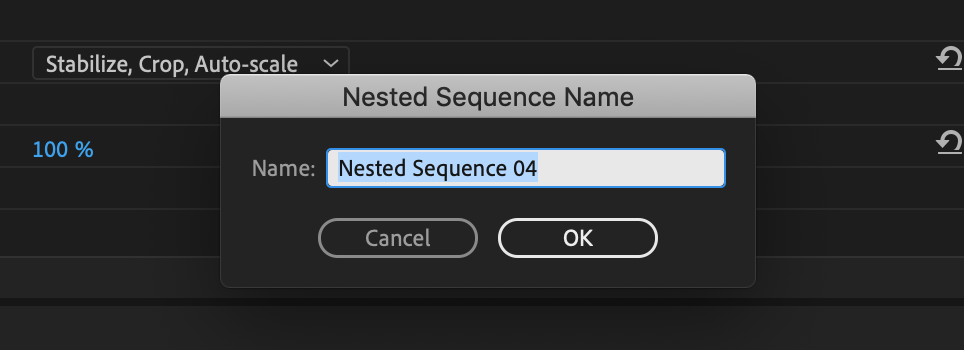 rename nested sequence premiere