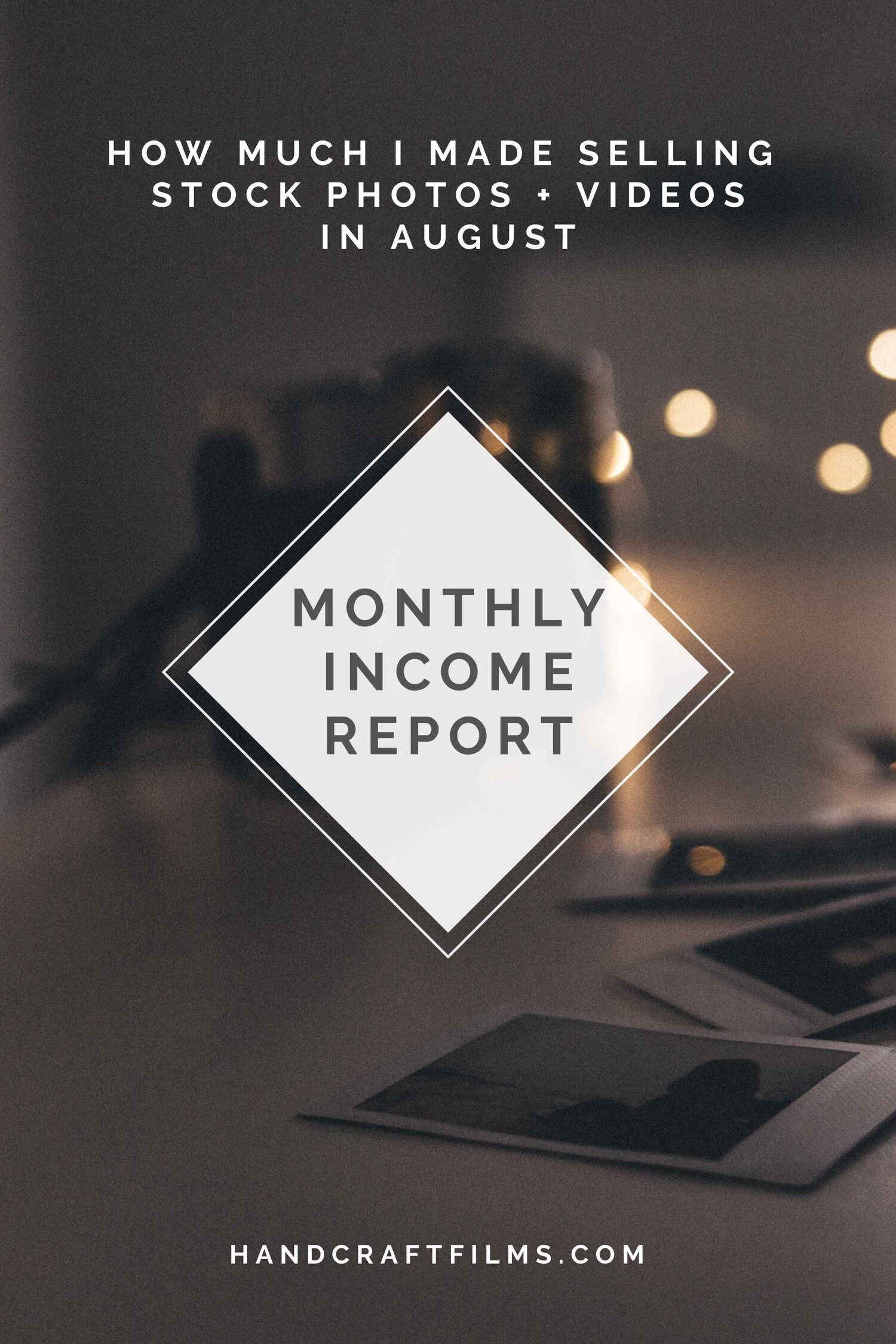 Monthly stock photo earnings for August 2019