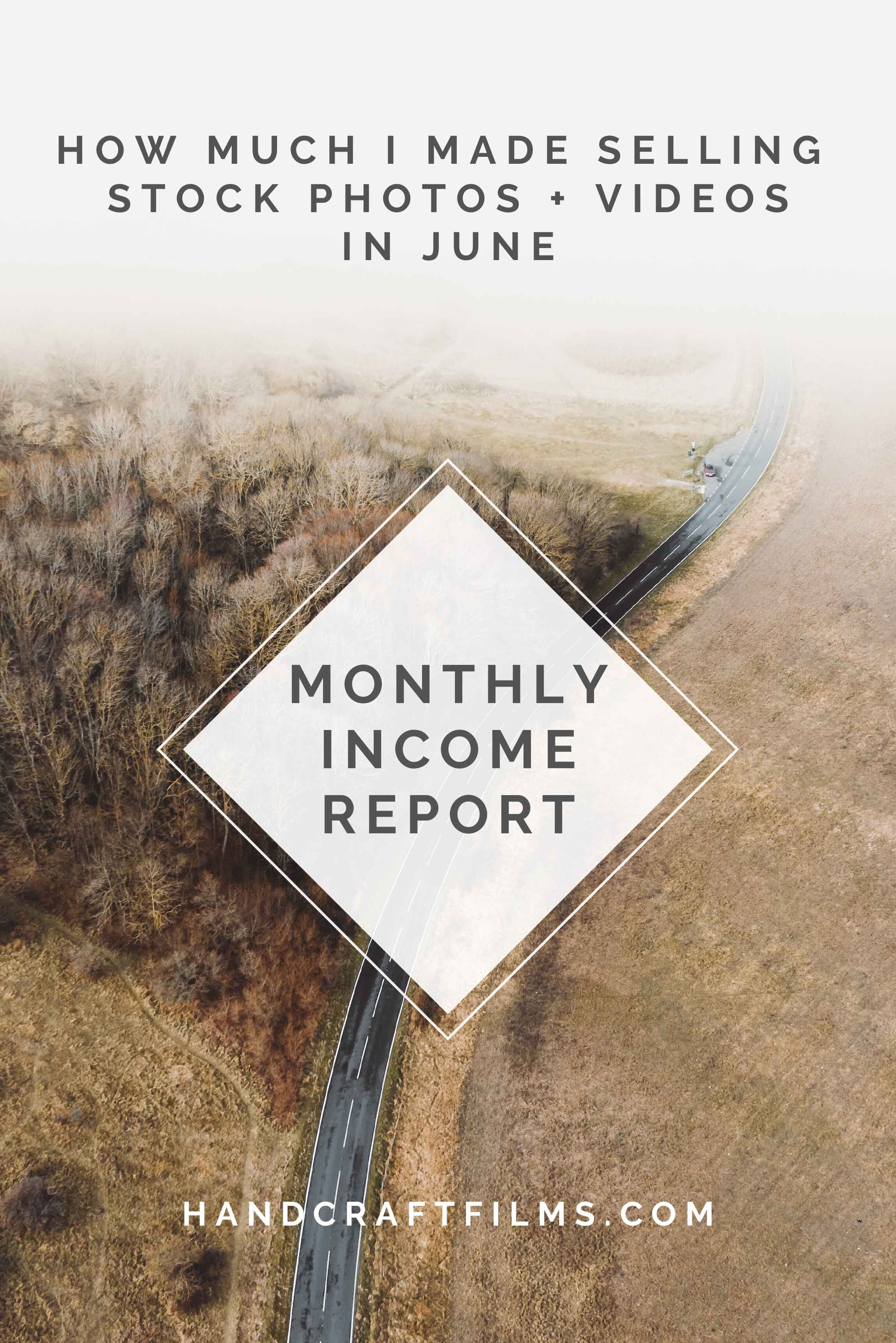 Monthly Stock Footage Income Report for June