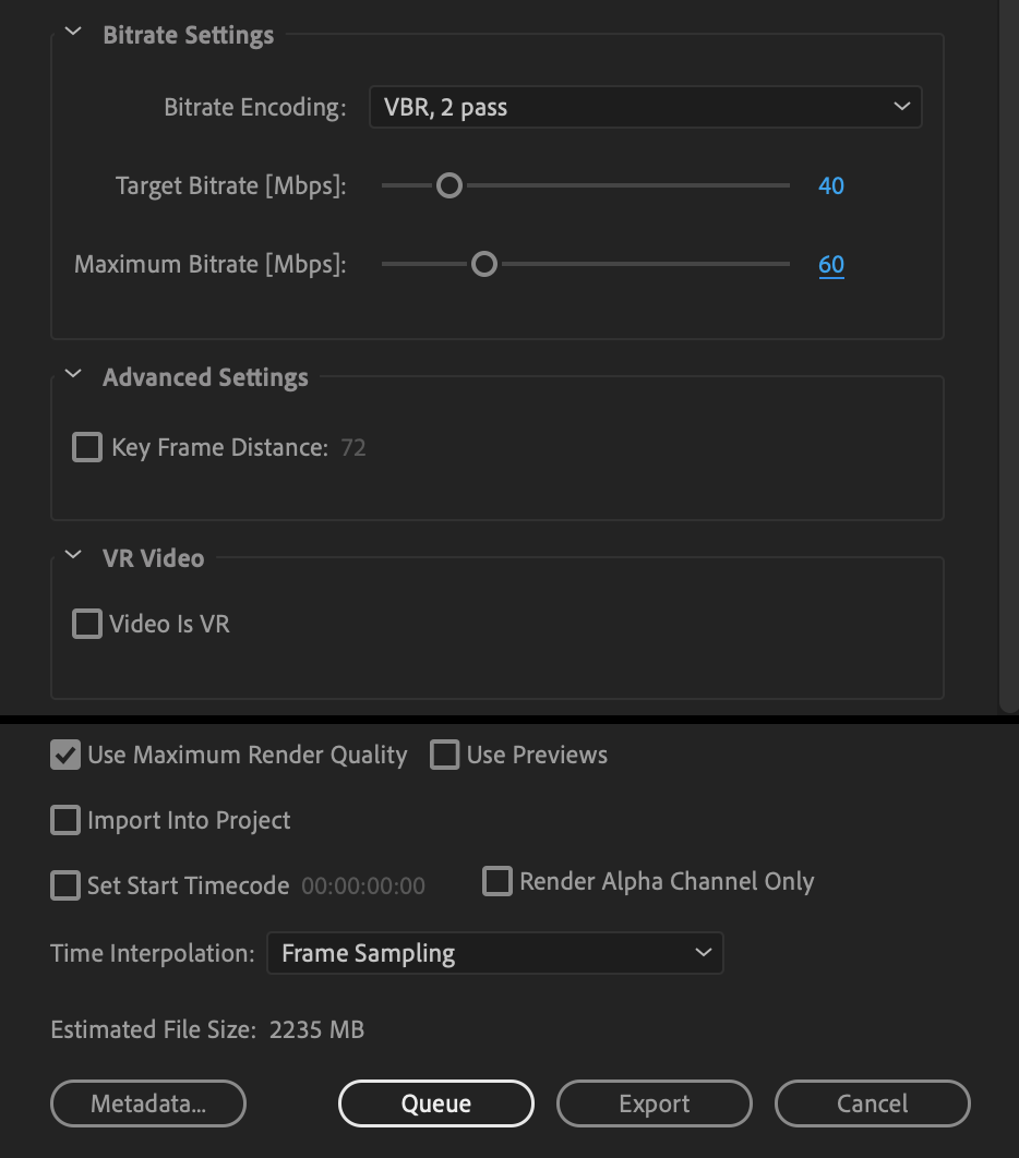 target and maximum bitrate settings for premiere pro
