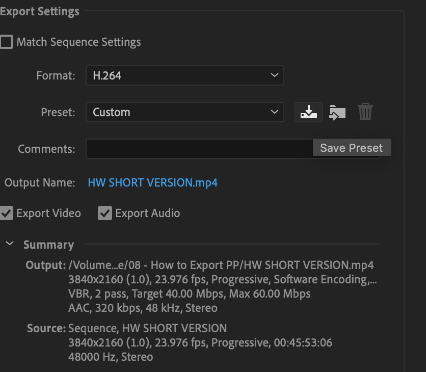 save export preset in premiere pro