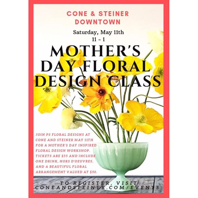 ✔️Mother's Day treat ✔️ Festive day date ✔️ Trying something new 🌷 Whatever your reason for attending, we look forward to sharing this special Saturday with you! Tickets still available through this Thursday via the link in bio. ✨  #workshop #mothersday #flowers #floraldesign #shopconeandsteiner #seattle #capitolhill #pioneersquare #downtown #shoplocal #shopsmall #localvore #goodneighborsgoodfood #eventoftheday #eotd