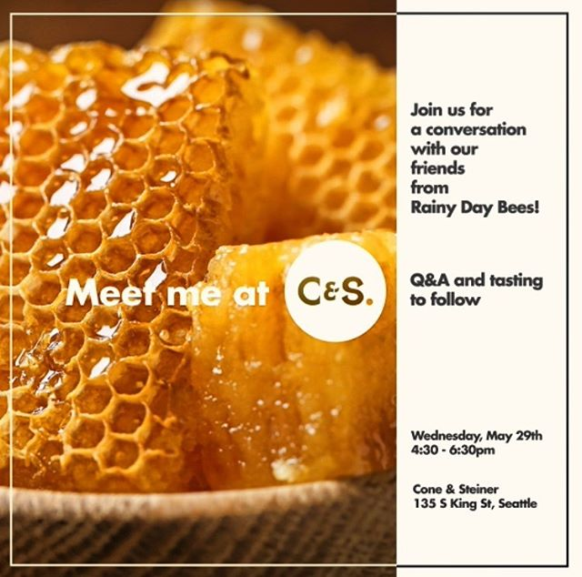 "Our first Meet Me at C&S event is coming up next Wednesday!! These events are some of our favorites to host. Not only will you get exclusive access to some of the finest purveyors of urban honey, but you'll get to learn all about beekeeping, starting a small business, all while tasting some delicious samples! Mark your calendars for this one, and swing over to Facebook page to watch the @rainydaybees edition of ""What's in Your Basket?"". . #meetmeatconeandsteiner #meetthemakers #savethebees #shopconeandsteiner #seattle #capitolhill #pioneersquare #downtown #shoplocal #shopsmall #localvore #goodneighborsgoodfood #eventoftheday #eotd"