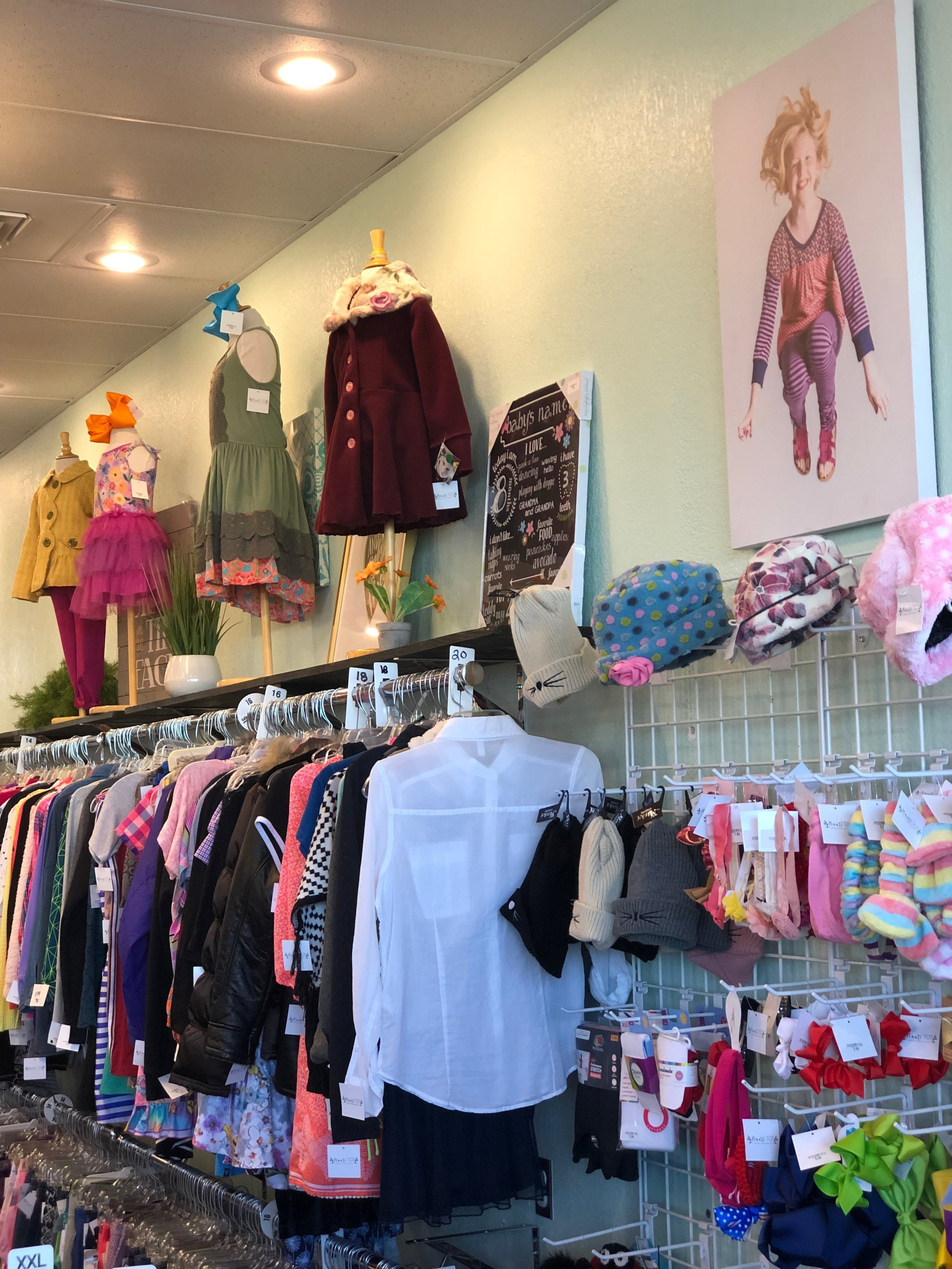 Our Store - We carry new and gently used clothing from size preemie to youth 16. Although some of our items are new with tags, the condition of our gently used merchandise is so exceptional you might not be able to tell the difference! You won't believe our brands, prices, and like-new equipment, furniture, toys and books too!