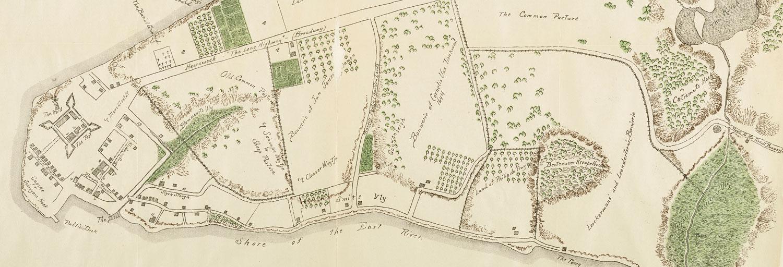 Plan of New Amsterdam, c. 1644, featuring Loockermans and Leendersten bouweries