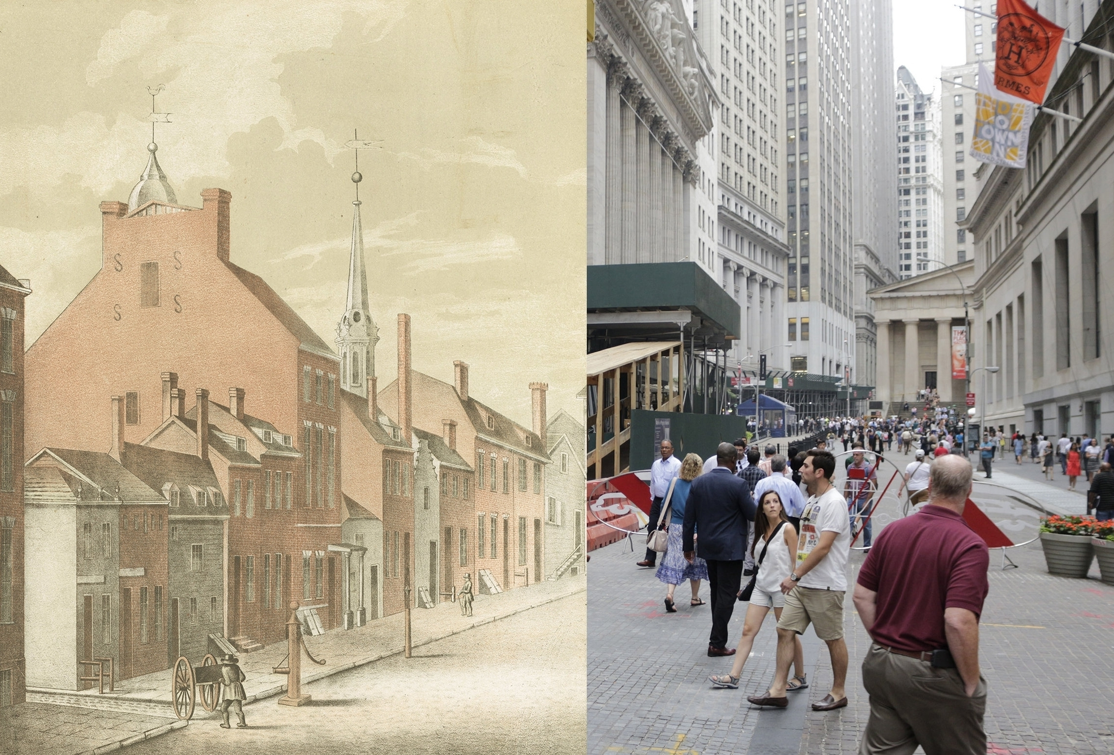From New Amsterdam to NYC - What did Manhattan look like to early colonists, and how has it evolved over time? Compare illustrations showing the City in the 1600s and 1700s with photographs of the same locations now.