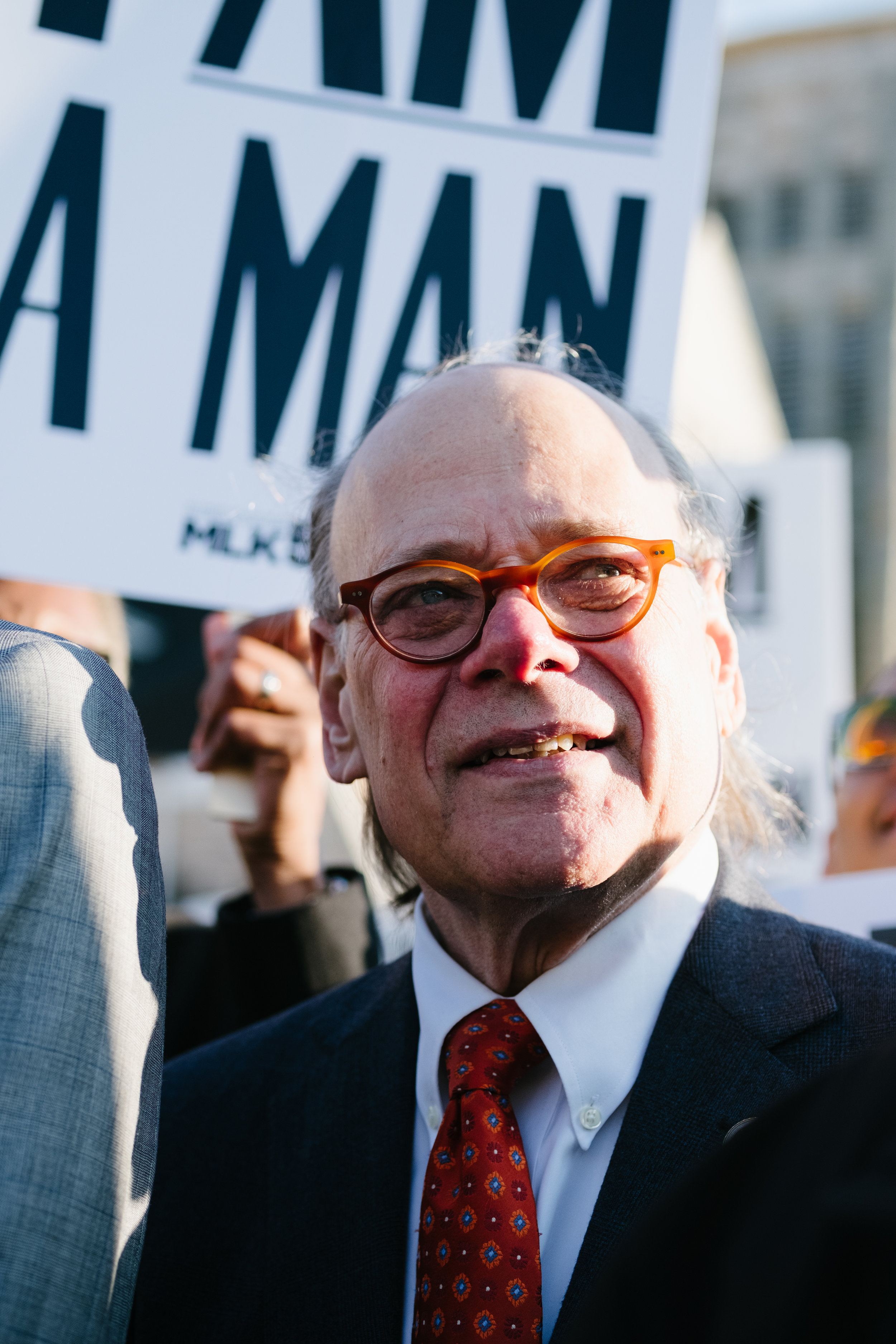 Rep. Steve Cohen participates in a march commemorating the 50th anniversary of the 1968 Memphis Sanitation Strike, February 12, 2018.