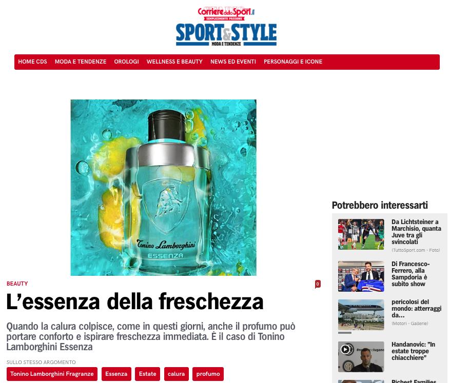 ESSENZA FEATURE STORY - New summer men's fragrance by Tonino Lamborghini
